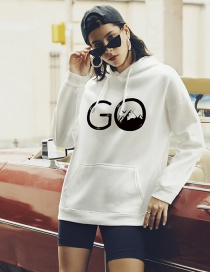 Fashion White Letter Print Large Pocket Hoodie