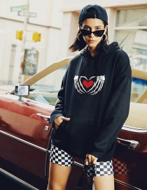Fashion Black Love Print Hoodie