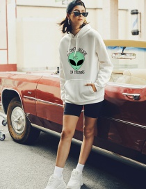 Fashion White Alien Print Letters Hoodie