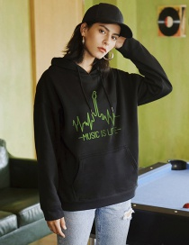 Fashion Black Ecg Letter Printed Hoodie