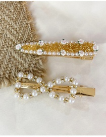 Fashion Gold Color Diamond-studded Pearl Flower Butterfly Combined Gold Hollow Hairpin Set