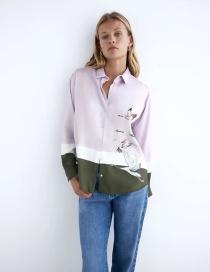 Fashion Purple Printed Crane Contrast Loose Shirt