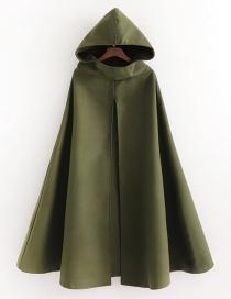Fashion Green Pure Color Hooded Woolen Cloak Coat