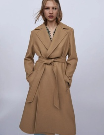 Fashion Caramel Colour Solid Color Wool Coat Jacket With Belt