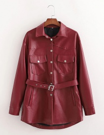 Fashion Red Belted Shirt-style Leather Jacket