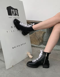Fashion Black Chunky Heel Non-slip Lace-up Side Zip Martin Boots