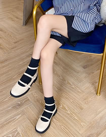 Fashion Apricot Thick-soled Color-blocking Low-heeled Belt Buckle Single-pedal Shoes