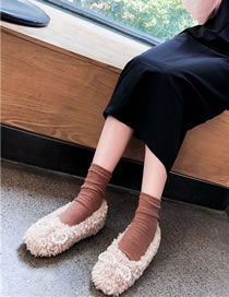 Fashion Apricot Flat Pearl Bow And Fluffy Shoes