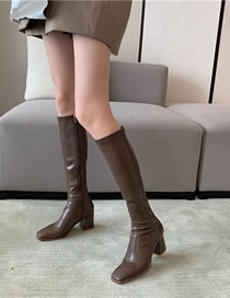 Fashion Dark Brown Square Toe Soft Leather Stretch Mid-block Heel High Boots
