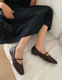 Fashion Dark Brown Flat Shoes With Shallow Mouth Square Toe Belt Buckle