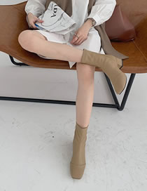 Fashion Camel Back Zipper Square Toe Chunky Heel Ankle Boots