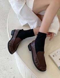 Fashion Dark Brown Round Toe Shallow Mouth Low Chunky Heel Pleated Shoes