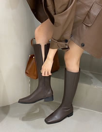 Fashion Brown Square Toe Thick Mid-heel Side Zipper High Boots