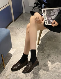 Fashion Dark Brown Flat Metal Buckle Soft Leather Square Toe Shoes