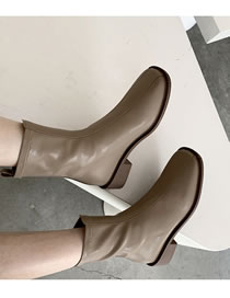 Fashion Milk Tea Square Toe Low Thick Heel One-step Short Boots