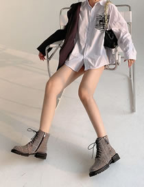 Fashion Check Brown Chunky Heel Non-slip Round Toe Lace-up Martin Boots