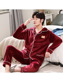 Fashion Burgundy Letters Cardigan Coral Fleece Long-sleeved Home Wear Men's Pajamas
