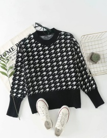 Fashion Black Houndstooth Knitted Pullover Sweater