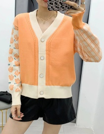 Fashion Orange Button Flower Knitted Contrast Loose Cardigan Sweater