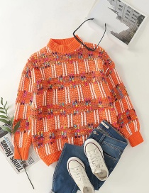 Fashion Orange Contrasting Round Neck Loose Knit Pullover Sweater