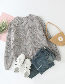 Fashion Gray Round Neck Thick Wool Knitted Pullover Sweater