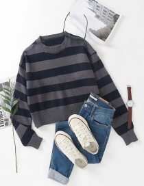 Fashion Dark Gray Colorblock Striped Round Neck Knitted Sweater