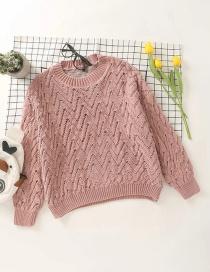 Fashion Orange Wavy Round Neck Knitted Pullover Sweater