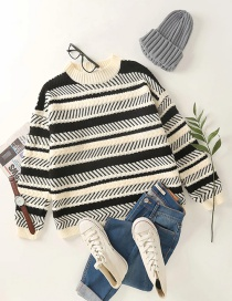Fashion Black Line Crew Neck Knitted Pullover Sweater