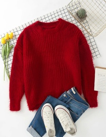 Fashion Red Wine Mohair Coarse Wool Knitted Pullover Sweater