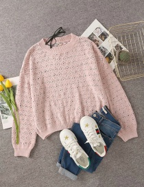 Fashion Pink Round Neck Diamond Knitted Pullover Sweater
