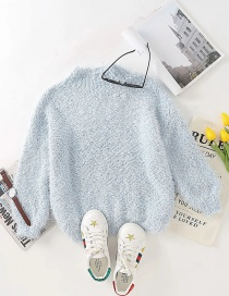 Fashion Blue Bright Silk Plush Knitted Pullover Sweater
