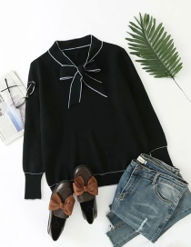 Fashion Black Bow Knit Pullover Sweater