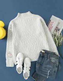 Fashion Light Grey Mohair Jacquard Pullover