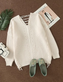 Fashion Creamy-white V-neck Loose Knit Sweater With Back Tie
