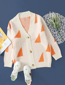 Fashion Creamy-white Triangle Button Knitted Cardigan