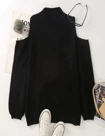 Fashion Black Off-the-shoulder Solid Color Round Neck Knitted Sweater