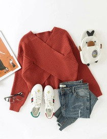 Fashion Brick Red Cropped Short V-neck Knitted Sweater