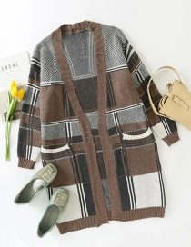 Fashion Coffee Color Check Color Contrast Long Knitted Cardigan