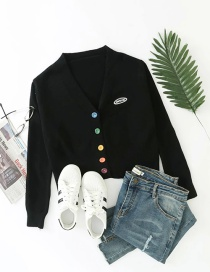 Fashion Black Button Contrast Letter Logo Knitted Cardigan