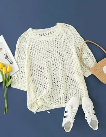 Fashion Creamy-white Hollow Solid Color Knitted Pullover Sweater