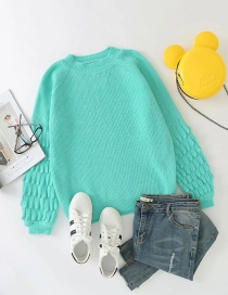 Fashion Lake Green Solid Color Lantern Sleeve Round Neck Pullover Sweater