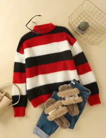 Fashion Red Striped Mohair Knitted Pullover Sweater
