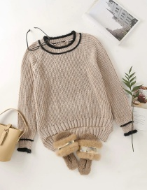 Fashion Khaki Thick Wool Round Neck Pullover Sweater