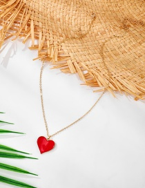 Fashion Red Love Heart Alloy Thin Chain Item