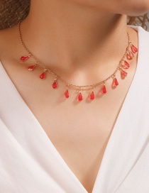 Fashion Red Diamond Drop Oil Drop Shaped Alloy Necklace
