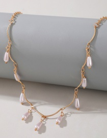 Fashion Golden Pearl Beaded Pendant Wave Pattern Alloy Necklace