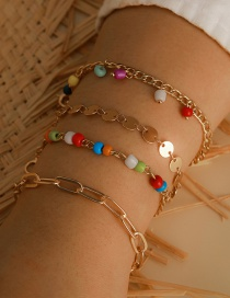 Fashion Color Mixing Rice Bead Beaded Alloy Disc Multilayer Bracelet