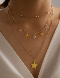 Fashion Golden Five-pointed Star Alloy Pendant Multilayer Necklace
