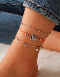 Fashion Silver Tortoise Five-pointed Star Pendant Alloy Multilayer Anklet