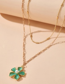 Fashion Green Drop Oil Leaf Flower Pearl Pendant Necklace